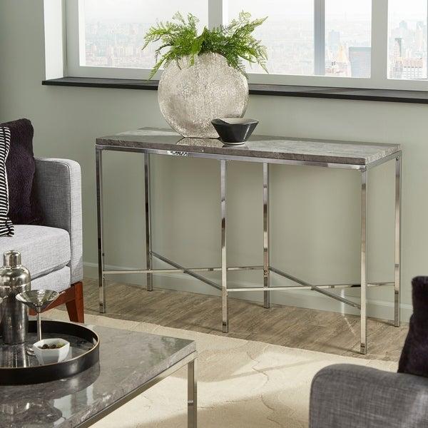 Shop Gabriele Chrome Finish Sofa Table With Grey Faux