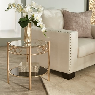 Metropolitan Rose Gold Finish Black Tempered Glass Metal End Table by iNSPIRE Q Bold