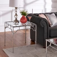 Gennadi Chrome Finish Metal Bamboo End Table With Glass Top by iNSPIRE Q Bold