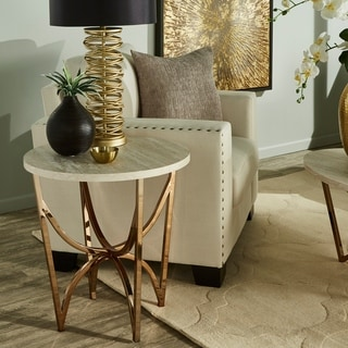 Vittoria Champagne Gold Finish End Table With White Faux Marble Top by iNSPIRE Q Bold