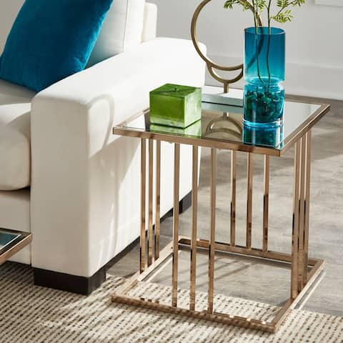 Silver Orchid Barker Champagne Gold Finish End Table with Mirror