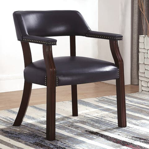 Classic Blue Office Guest Reception Chair with Nailhead Trim