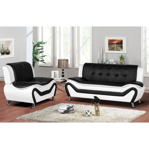 Montlay 2-piece Modern Faux Leather Living Room Set
