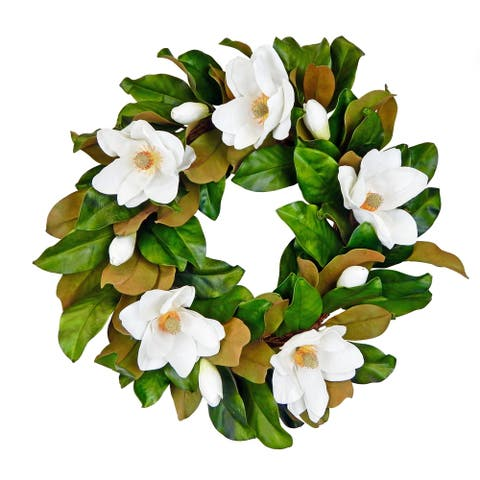 """Real touch 26"""" magnolia leaf and bloom wreath"""