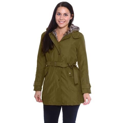 Women's Hooded Faux Fur Lined Zipper Long Sleeve Coat Outwear