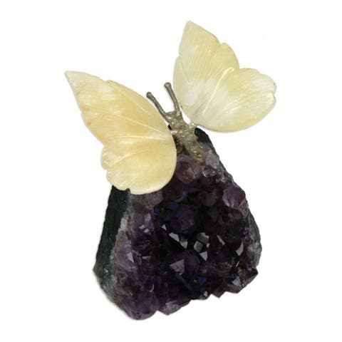 Handmade Gemstone Butterfly Sculpture in Honeyed Butterfly (Brazil)