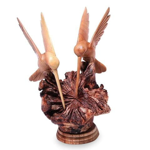 Handmade Hummingbird Couple Jempinis Wood Sculpture (Indonesia)