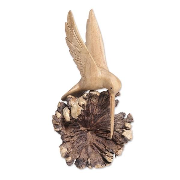 Handmade Flying Hummingbird Wood Sculpture (Indonesia)