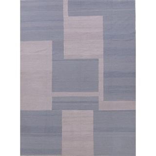 "Kilim Geometric Contemporary Hand-Woven Wool Turkish Oriental Area Rug - 11'3"" x 8'5"""
