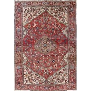 "Antique Heriz Serapi Geometric Handmade Wool Persian Oriental Area Rug - 10'11"" x 7'7"""