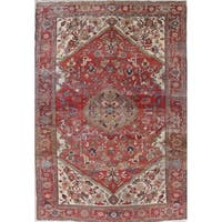 "Antique Heriz Serapi Geometric Handmade Wool Persian Oriental Area Rug - 10'11"" x 7'7"""