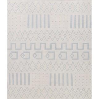 "Kilim Geometric Contemporary Hand-Woven Wool Turkish Oriental Area Rug - 9'8"" x 8'3"""