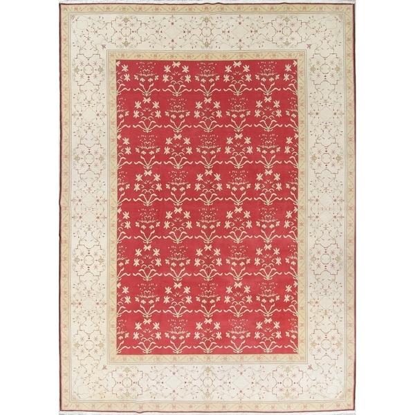 "Oushak Floral Transitional Handmade Wool Pakistan Oriental Area Rug - 13'9"" x 9'11"""