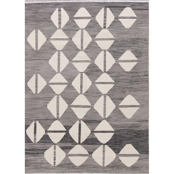 "Kilim Geometric Contemporary Hand-Woven Wool Turkish Oriental Area Rug - 8'0"" x 5'9"""
