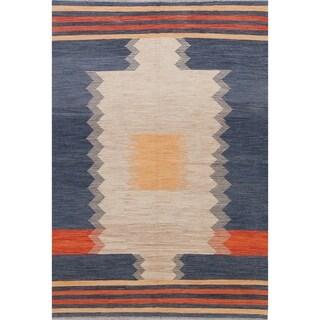"Kilim Geometric Contemporary Hand-Woven Wool Turkish Oriental Area Rug - 9'8"" x 6'9"""