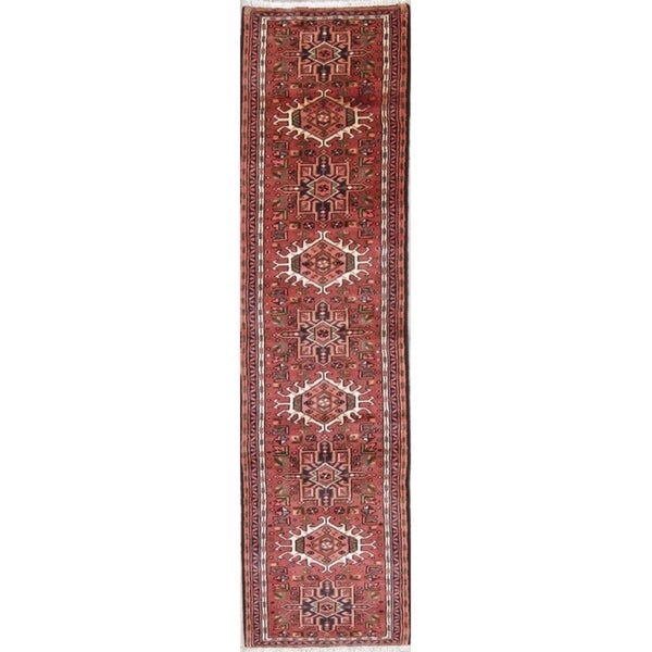 """Gharajeh Geometric Handmade Wool Persian Oriental Rug - 9'6"""" x 2'6"""" Runner"""