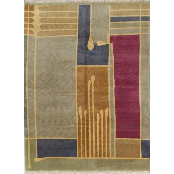 499afec27b5 Nepal Tibetan Geometric Contemporary Handmade Wool Indian Area Rug -  11' ...