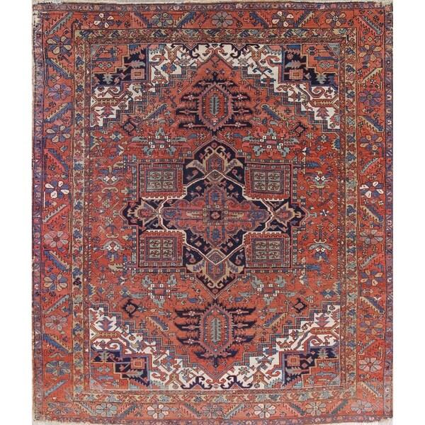 "Antique Heriz Serapi Geometric Handmade Wool Persian Oriental Area Rug - 12'10"" x 10'6"""
