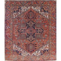 "Antique Heriz Serapi Geometric Handmade Wool Persian Oriental Area Rug - 12'10"" x 10'6"""
