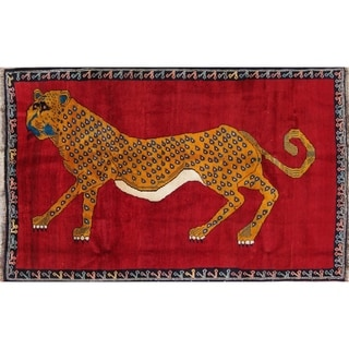 """Gabbeh Animal Pictorial Hand-Knotted Wool Persian Oriental Area Rug - 6'11"""" x 4'5"""""""