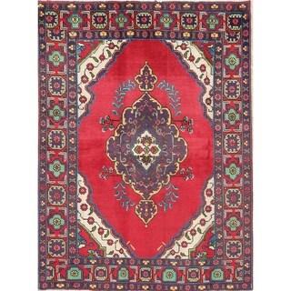 "Tabriz Medallion Geometric Hand-Knotted Wool Persian Oriental Area Rug - 6'4"" x 4'5"""
