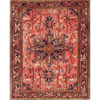 "Heriz Geometric Hand-Knotted Wool Persian Oriental Area Rug - 4'7"" x 3'8"""