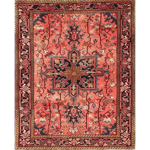 "Heriz Geometric Hand-Knotted Wool Persian Oriental Area Rug - 4'7"" x 3'8"""