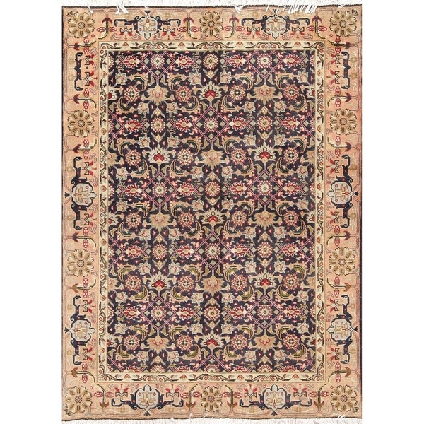 "Ardebil All-Over Geometric Hand-Knotted Wool Persian Oriental Area Rug - 4'9"" x 3'6"""