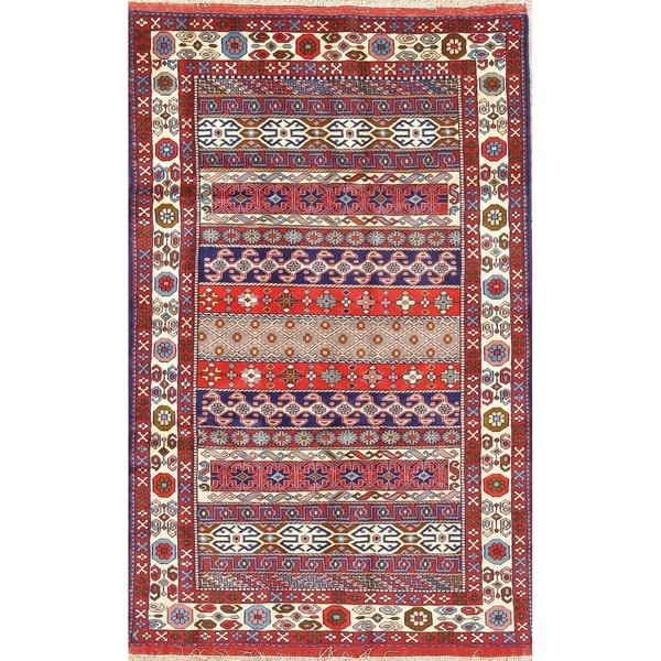 "Bokhara All-Over Geometric Hand-Knotted Wool & Silk Pakistani Area Rug - 6'0"" x 3'8"""