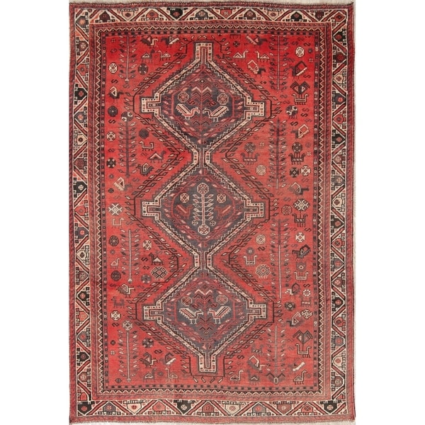 "Antique Shiraz Tribal Geometric Hand-Knotted Wool Persian Area Rug - 8'3"" x 5'8"""