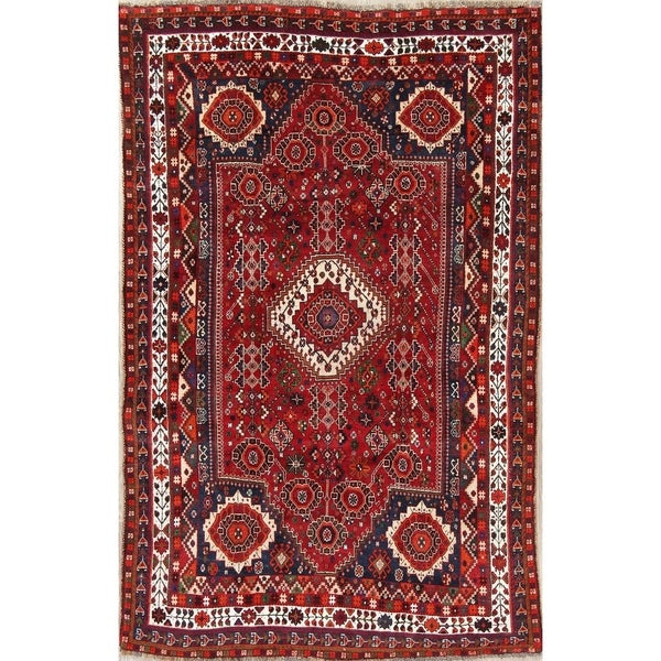 """Vintage Kashkoli Tribal Geometric Hand-Knotted Wool Persian Area Rug - 8'5"""" x 5'4"""""""