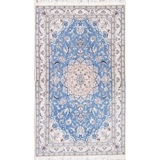 """Nain Floral Medallion Hand-Knotted Wool with Silk Persian Area Rug - 6'7"""" x 4'3"""""""