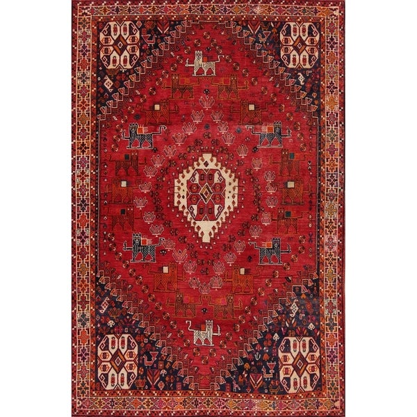 """Vintage Abadeh Tribal Geometric Hand-Knotted Wool Persian Area Rug - 8'3"""" x 5'5"""""""