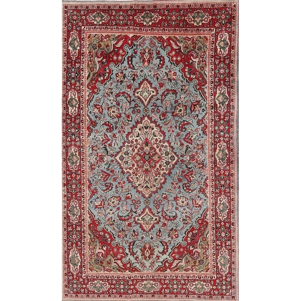 """Vintage Kashan Medallion Traditional Hand-Knotted Persian Area Rug - 6'11"""" x 4'1"""""""