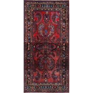"""Vintage Lilian Geometric Hand-Knotted Wool Persian Oriental Area Rug - 6'7"""" x 3'8"""""""