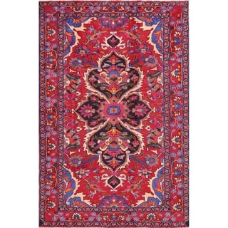 """Vintage Lilian Geometric Hand-Knotted Wool Persian Oriental Area Rug - 7'3"""" x 4'10"""""""