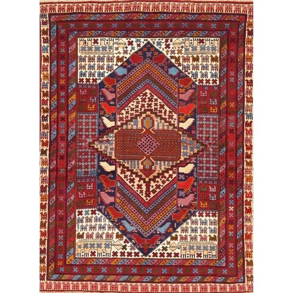 "Bokhara Tribal Geometric Hand-Knotted Wool & Silk Pakistani Area Rug - 5'8"" x 4'3"""