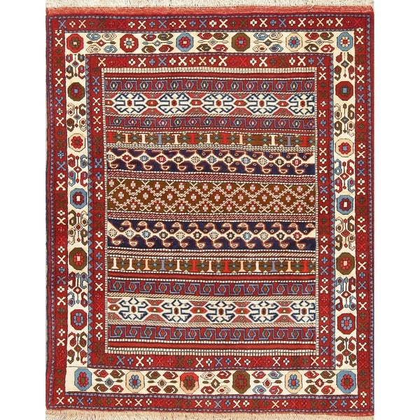 "Bokhara Geometric Hand-Knotted Wool & Silk Pakistani Oriental Area Rug - 5'3"" x 4'3"""