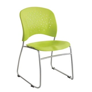 Safco Reve Sled Base Guest Chair with Round Back and Glides, Green - 2 Pack