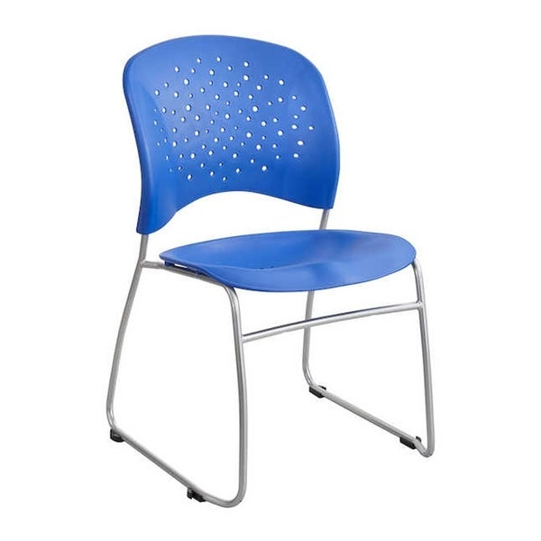 Safco Reve Sled Base Guest Chair with Round Back and Glides, Blue - 2 Pack