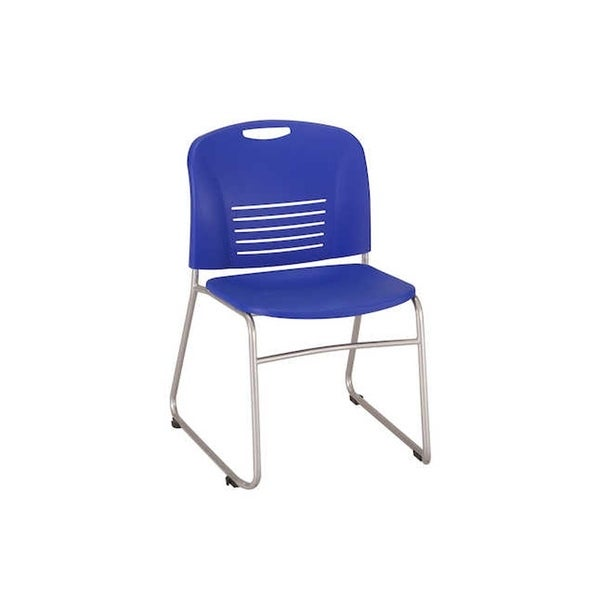 Safco Vy Sled Base Plastic Stacking Guest Chair, Blue - 2 Pack