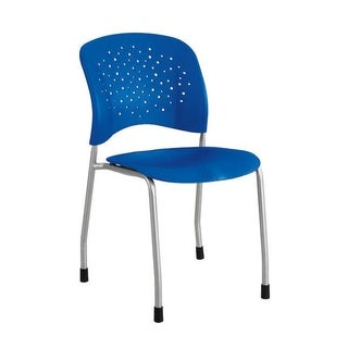 Safco Reve Straight Leg Guest Chair with Round Back and Glides, Blue - 2 Pack