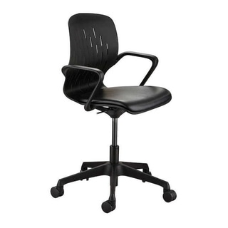 Safco Adjustable Height Shell Swivel Desk Chair with Vinyl Seat and Casters - Black