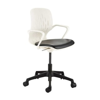 Safco Adjustable Height Shell Swivel Desk Chair with Vinyl Seat and Casters - White