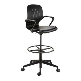 Safco Shell Extended Adjustable Height Vinyl Upholstered Swivel Chair with Casters - Black