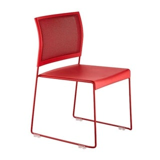 Safco 4271RM Currant High Density Solid Steel Frame Stacking Guest Chair, Red - 4 Pack