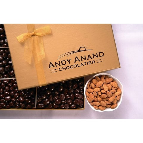 Andy Anand Dark Chocolate covered Almonds 1 lbs, & Greeting Card, for Birthday, Father's Day, Get Well Basket