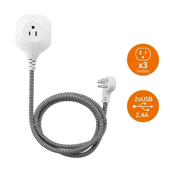 Link2Home Power Globe, 5ft Extension Cord, 3 Outlets Power Strip, 2 USB Ports, 2.4A USB, Braided Cable with Low Profile Plug