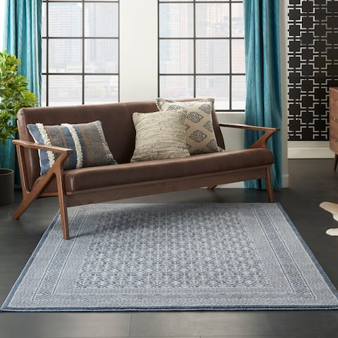 Carson Carrington Rantorp Royal Moroccan Blue/Grey Area Rug