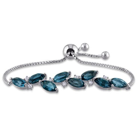 Laura Ashley London-Blue Topaz Created White Sapphire Adjustable Station Leaf Bolo Bracelet in Sterling Silver